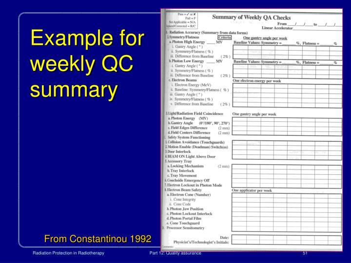 Example for weekly QC summary
