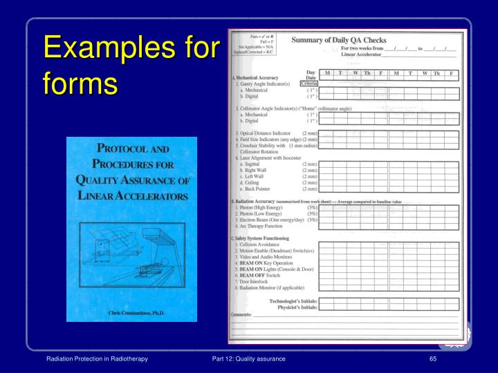 Examples for forms