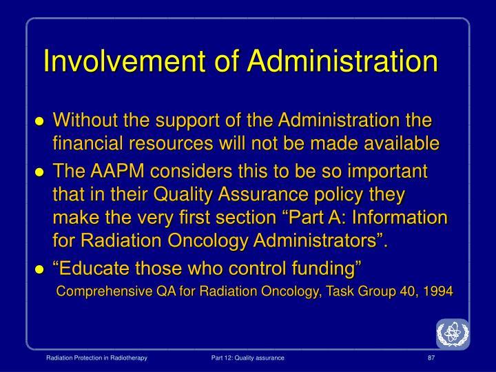 Involvement of Administration