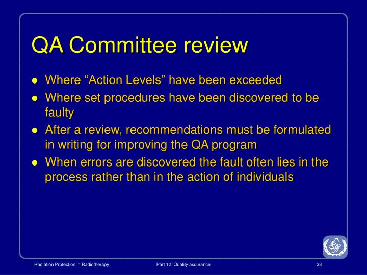 QA Committee review