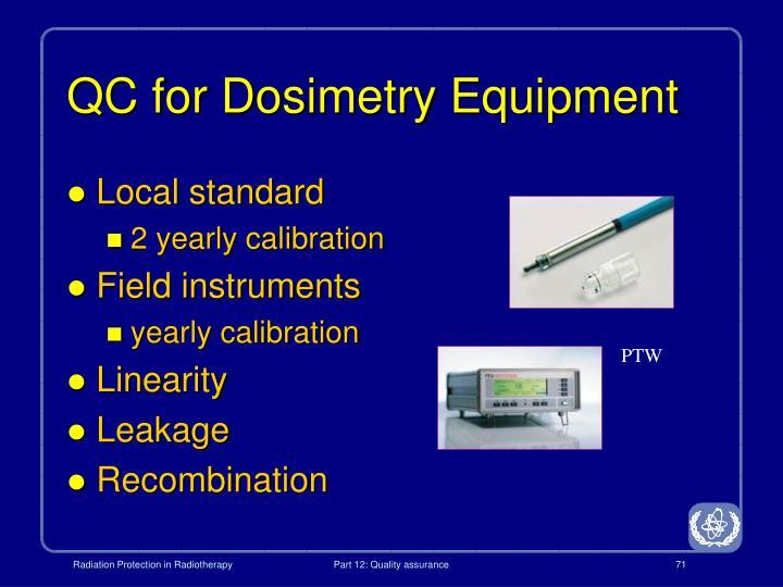 QC for Dosimetry Equipment