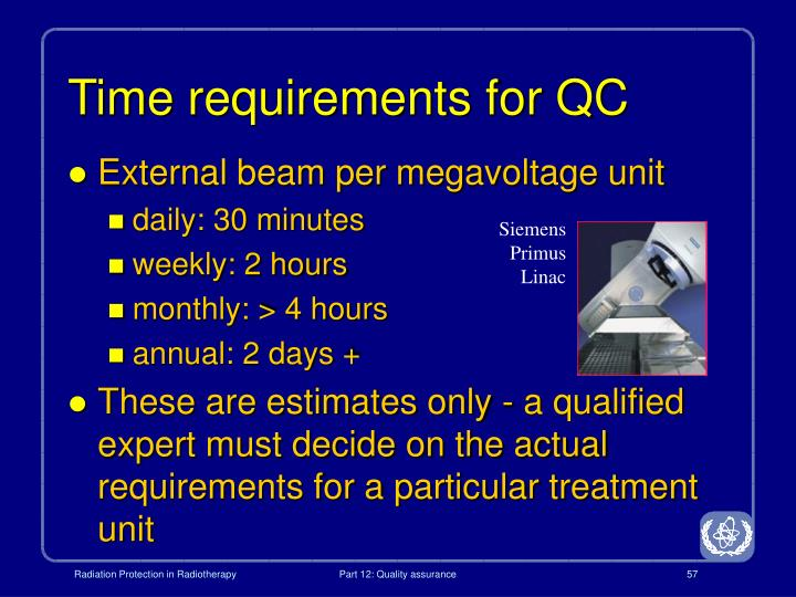 Time requirements for QC