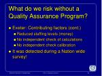what do we risk without a quality assurance program1