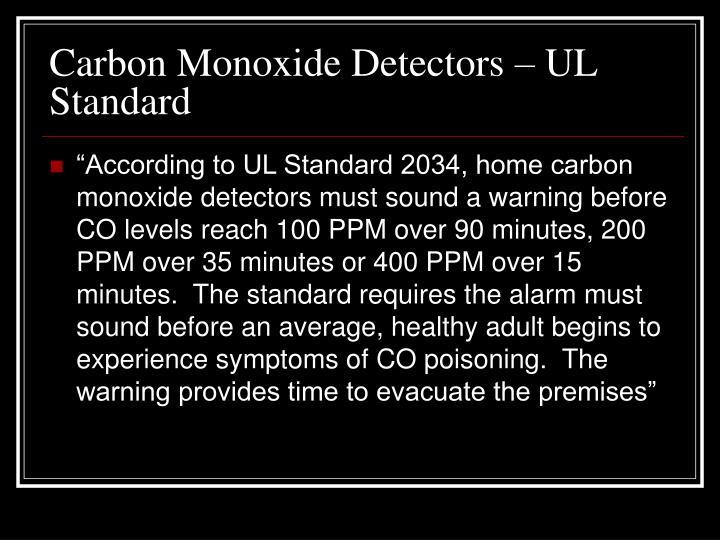 Carbon Monoxide Detectors – UL Standard