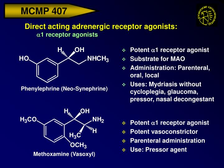 Direct acting adrenergic receptor agonists: