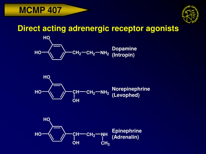 Direct acting adrenergic receptor agonists