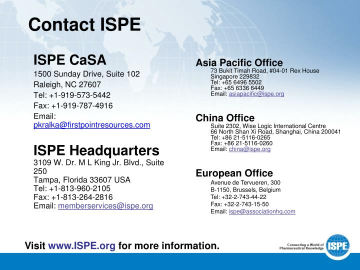 Contact ISPE