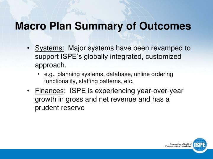 Macro Plan Summary of Outcomes