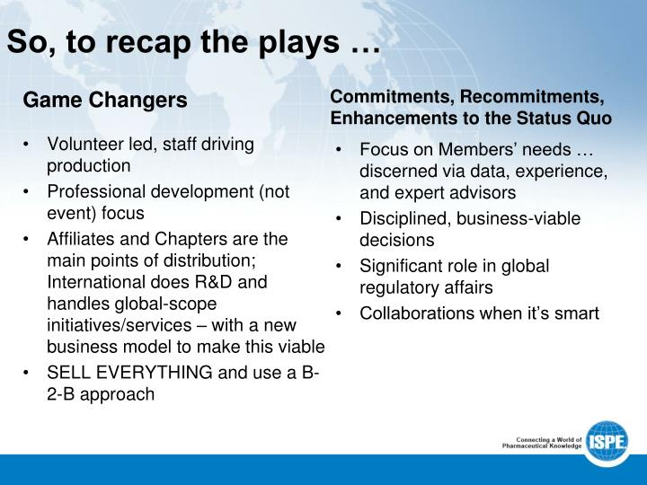 So, to recap the plays …