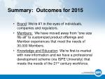 summary outcomes for 2015