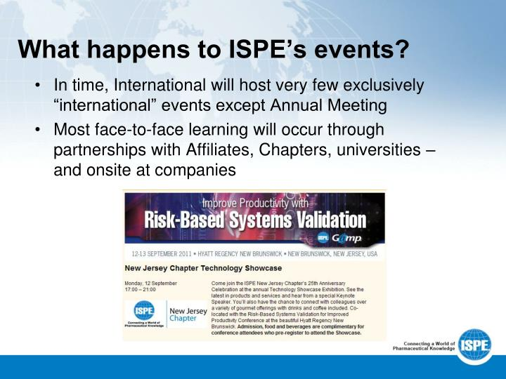 What happens to ISPE's events?