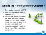 what is the role of affiliates chapters