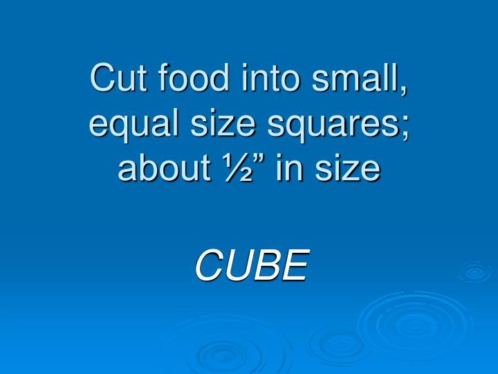 "Cut food into small, equal size squares; about ½"" in size"
