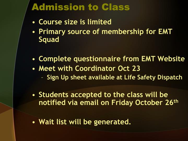 Admission to Class