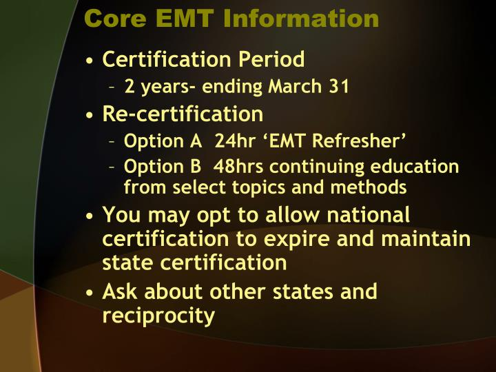 Core EMT Information