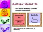 choosing a topic and title2