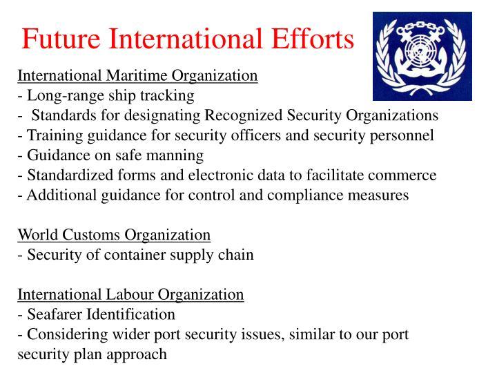 Future International Efforts