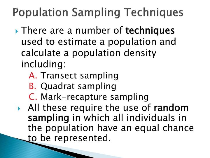 Population Sampling Techniques
