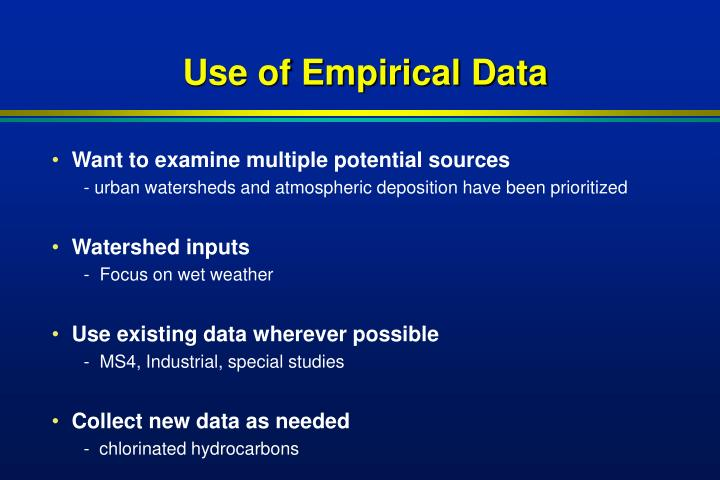 Use of Empirical Data