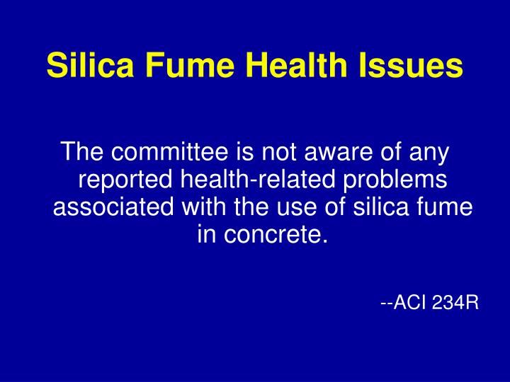 Silica Fume Health Issues