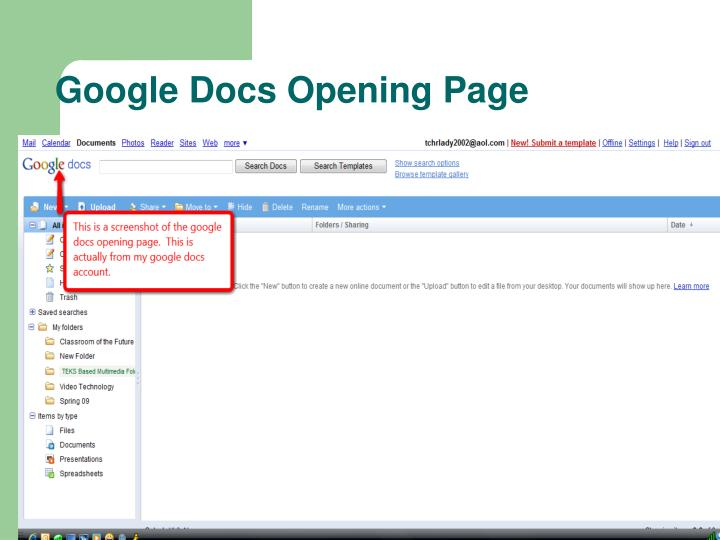 Google docs opening page