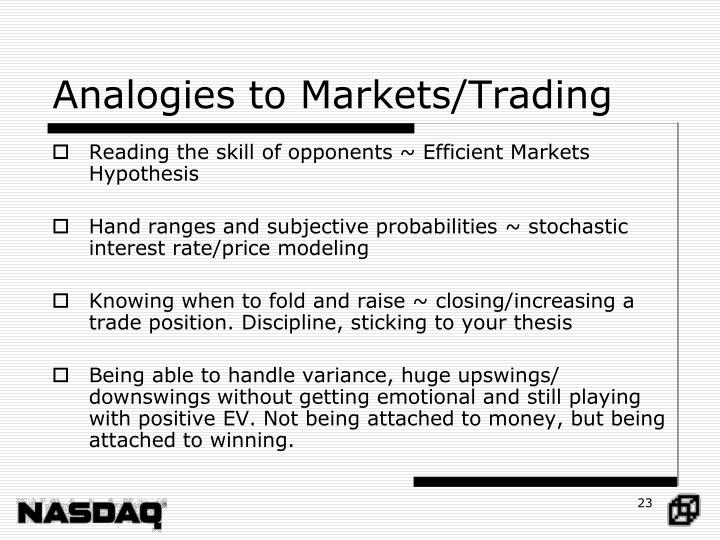 Analogies to Markets/Trading