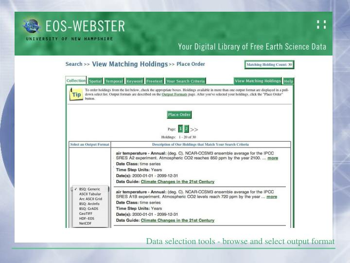 Data selection tools - browse and select output format
