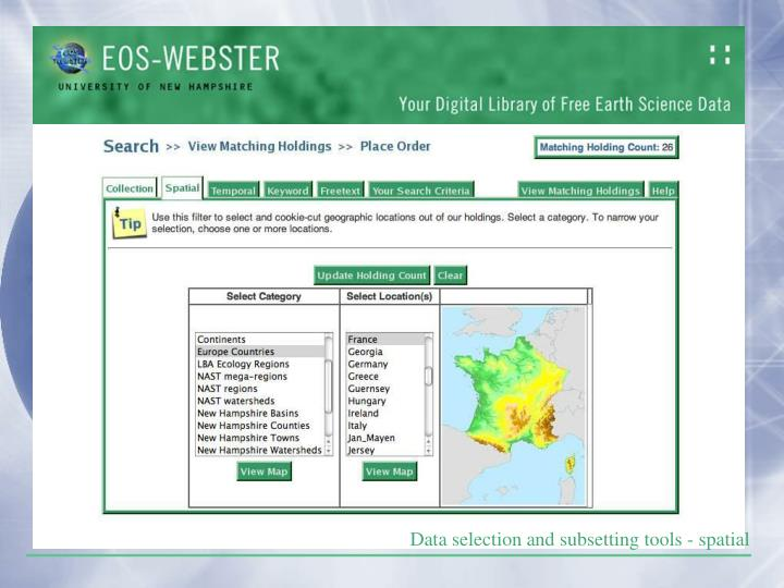 Data selection and subsetting tools - spatial