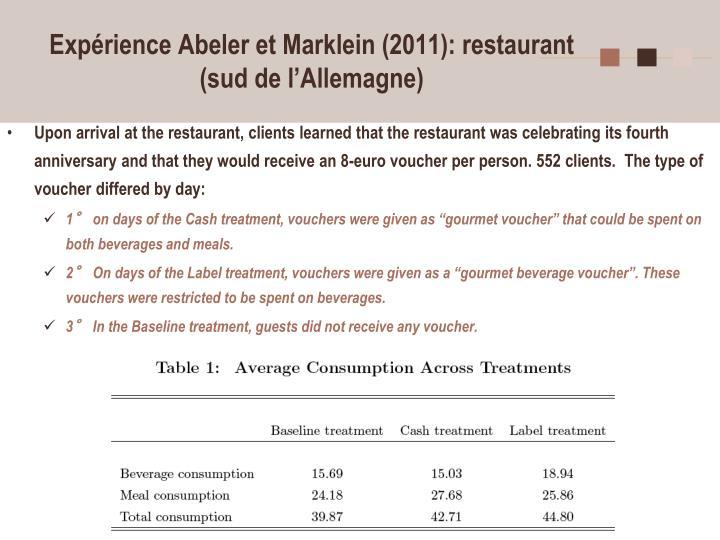 Expérience Abeler et Marklein (2011): restaurant (sud de l'Allemagne)