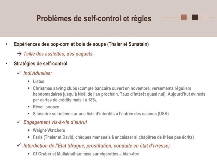 Problèmes de self-control et règles