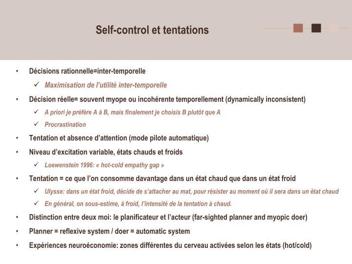 Self-control et tentations