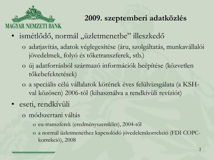 2009. szeptemberi adatközlés