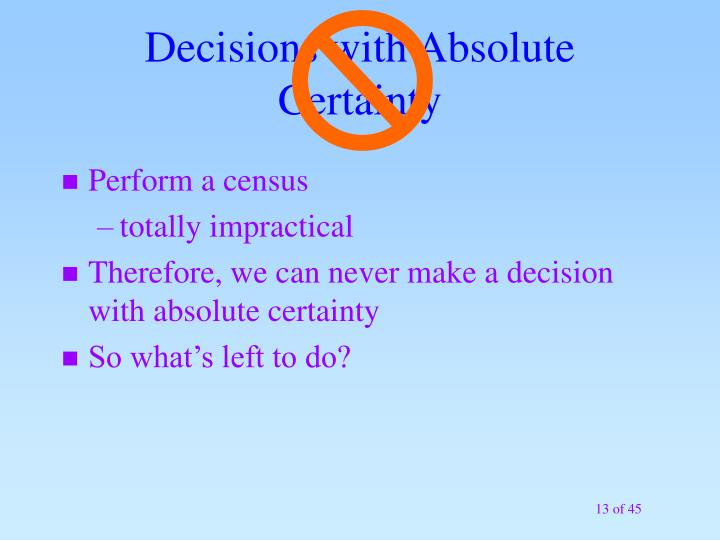Decisions with Absolute Certainty
