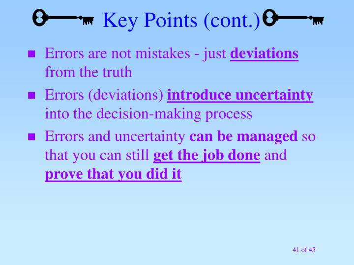 Key Points (cont.)