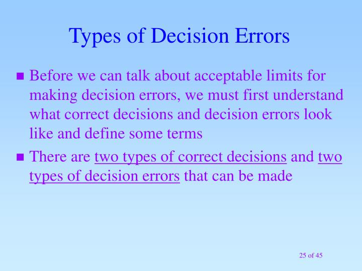 Types of Decision Errors
