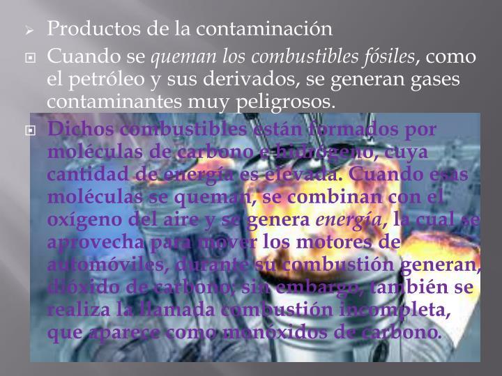 Productos de la contaminación