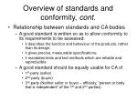 overview of standards and conformity cont1