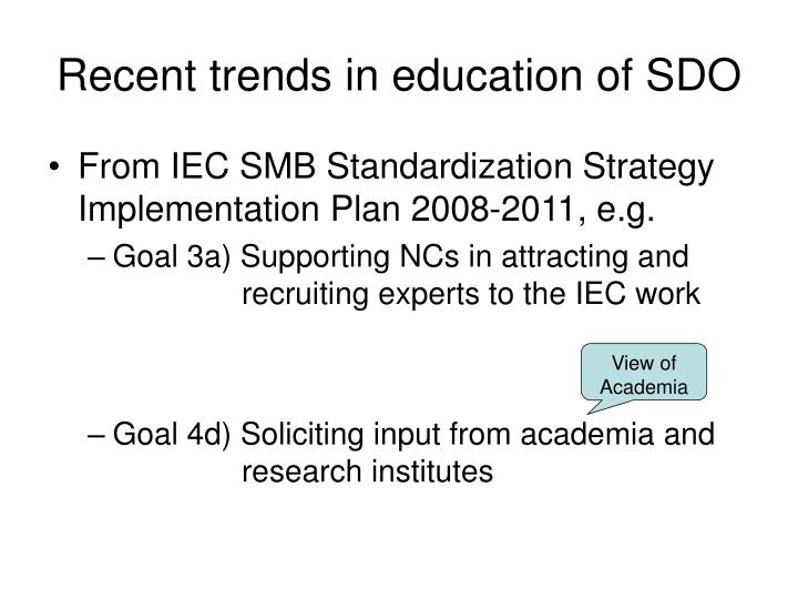 Recent trends in education of SDO