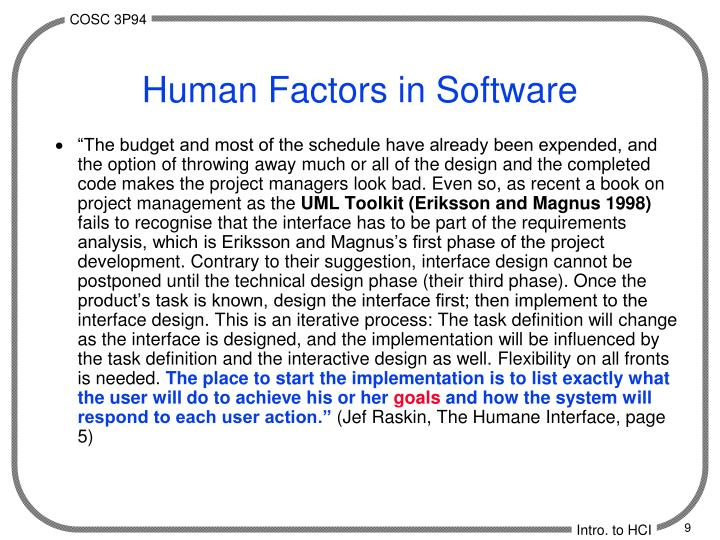 Human Factors in Software