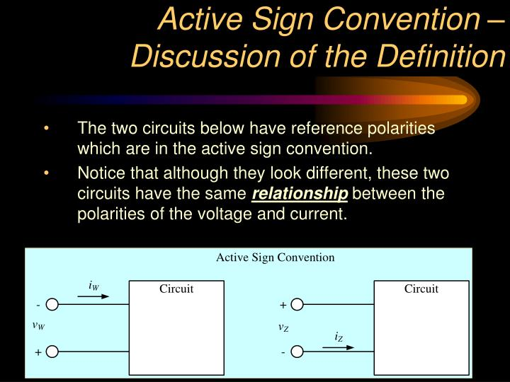 Active Sign Convention – Discussion of the Definition
