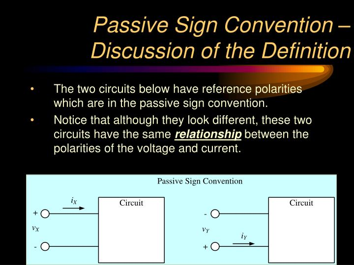 Passive Sign Convention – Discussion of the Definition
