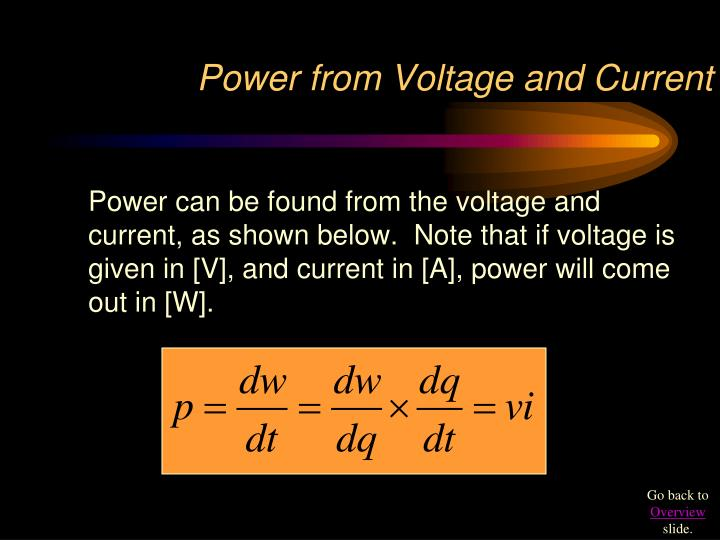 Power from Voltage and Current