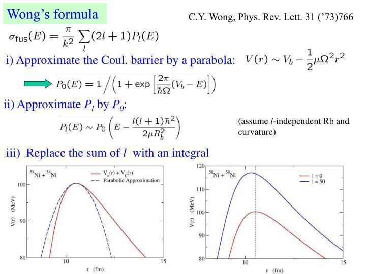 Wong's formula
