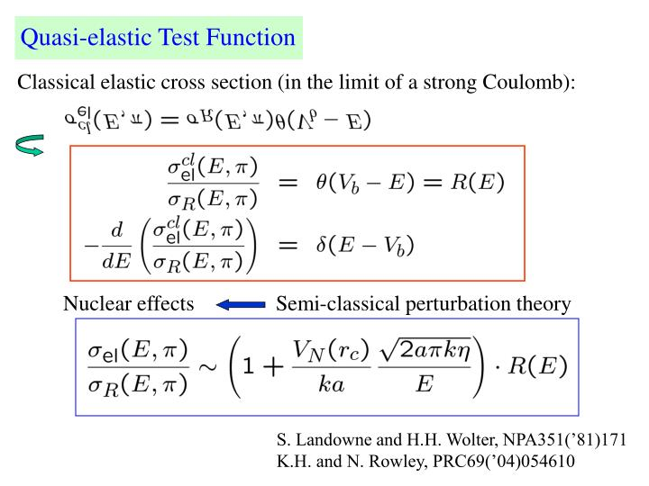 Nuclear effects               Semi-classical perturbation theory