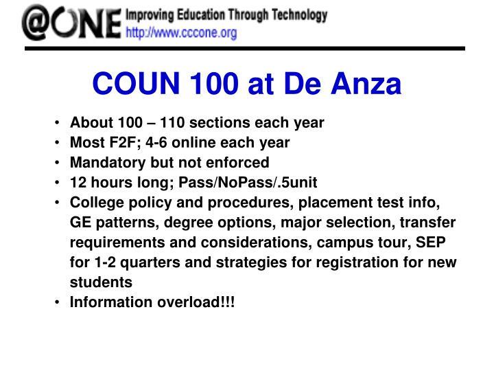 COUN 100 at De Anza