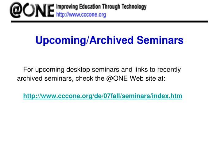 Upcoming/Archived Seminars