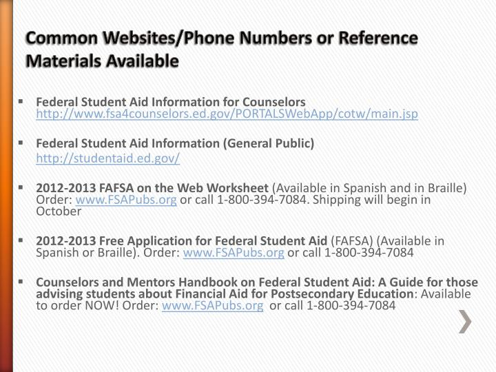 Federal Student Aid Information for Counselors