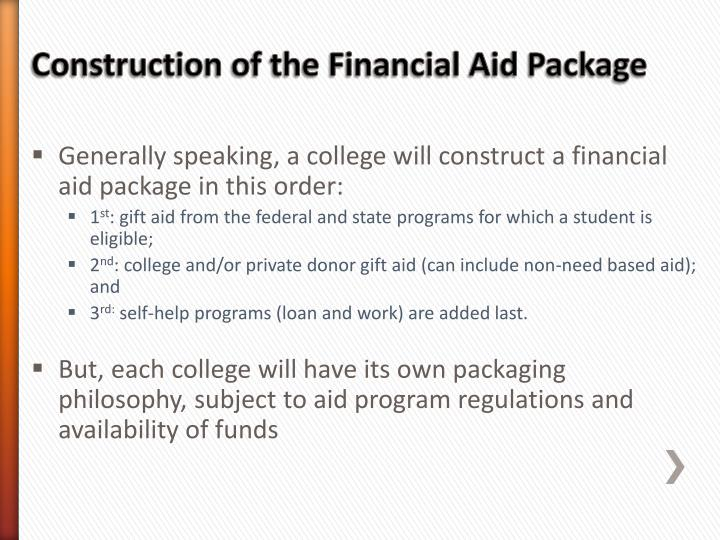 Generally speaking, a college will construct a financial aid package in this order: