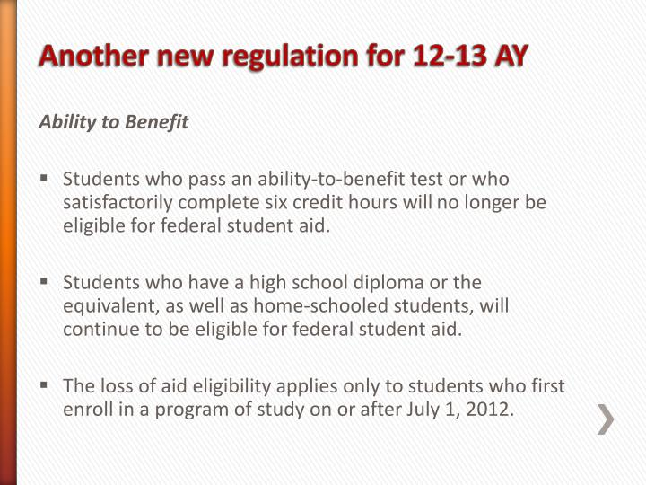 Another new regulation for 12-13 AY