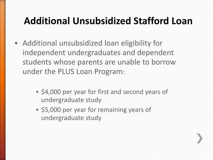Additional Unsubsidized Stafford Loan